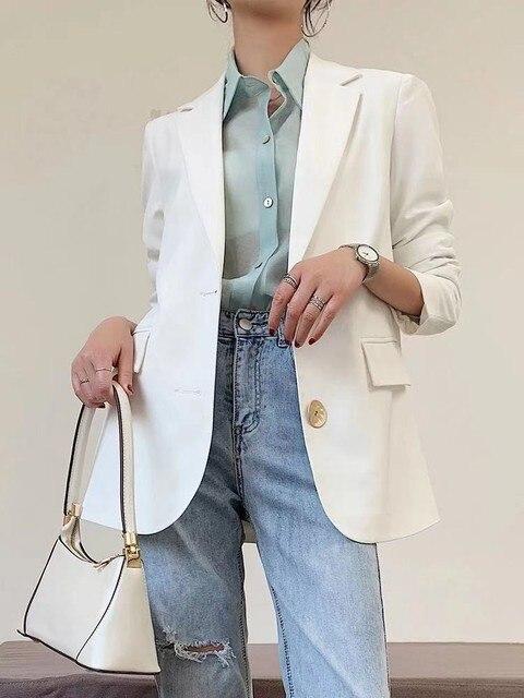 Free Shipping Fashion Spring Autumn New White Blazer Women Jacket Work Wear Slim Suit Coats White Student Wear Clohtes  3