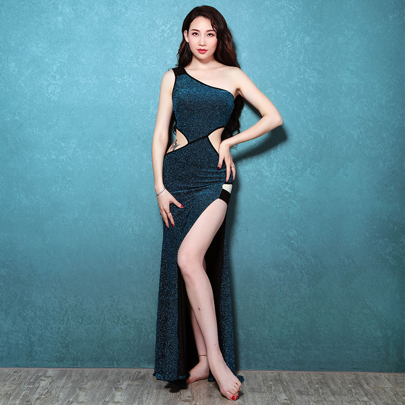 Women adult belly dance practice set group training suit Oriental Dance Costume One Piece Dress female sexy sequins long dress