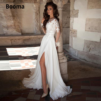 Booma Vintage Lace Wedding Dresses Sheer Neck Long Sleeve Side Split Beach Boho Wedding Gowns Sweep Train Chiffon Bridal Dress sevintage 2020 v neck chiffon boho wedding dresses lace applique garden beach bridal gowns split side bride dress vestidos