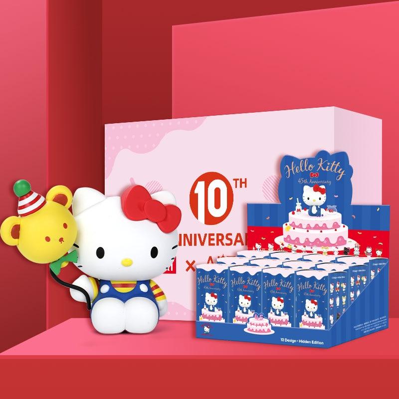 POPMART Sanrio HelloKitty 45th Anniversary Series Toys Figure Blind Box Cute Birthday Gift Free Shipping