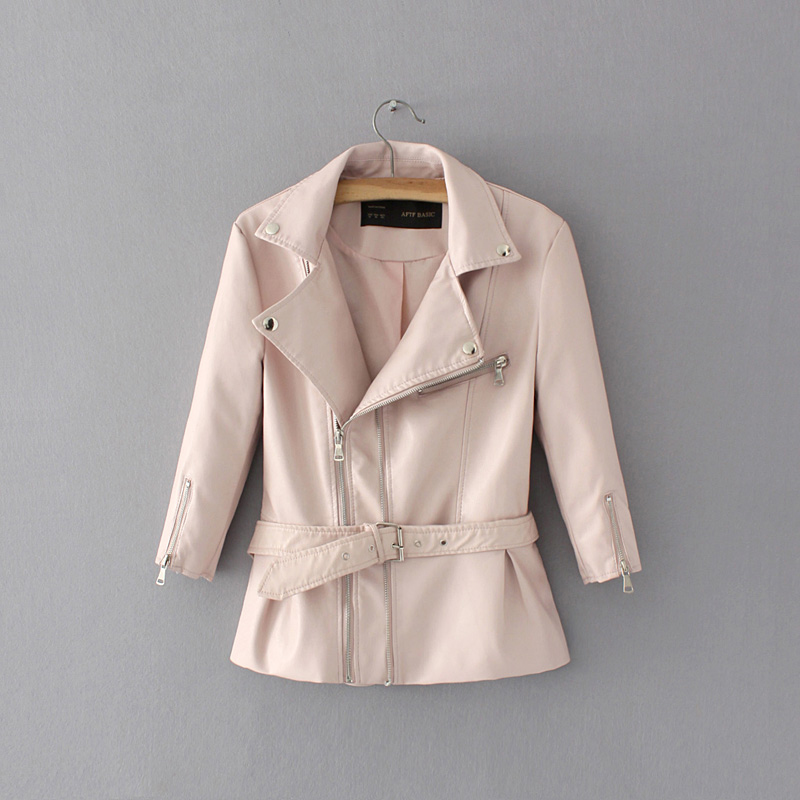 Elegant Women PU Leather Pink Jackets 2020 Fashion Ladies Moto-bikers Chic Jacket With Belts Female Wild Slim Long Coats Girls