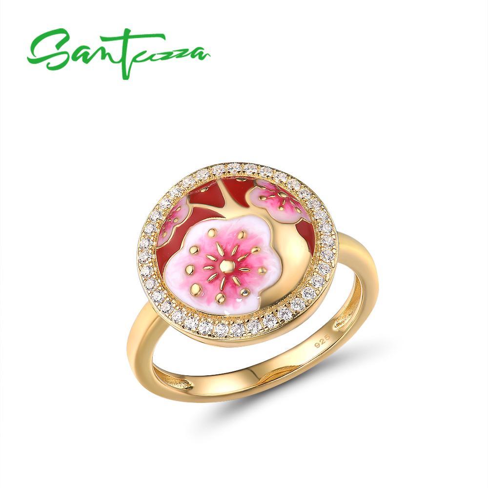SANTUZZA anillos de plata para las mujeres genuino 925 plata esterlina delicada cereza flores delicado de moda de joyería de esmalte hecho a mano Colgantes de plata de ley 925 de alta calidad con cuentas de Arbol de la vida compatibles con la pulsera Pandora Original