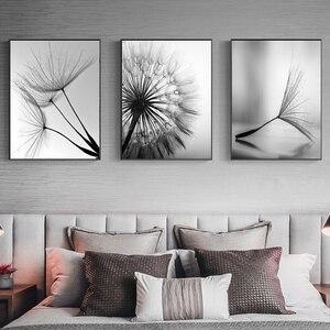 Naturaleza diente de león flor lienzo pintura negro moderno Arte Blanco estampado pintura decoración del hogar sala de estar pared abstracta póster arte
