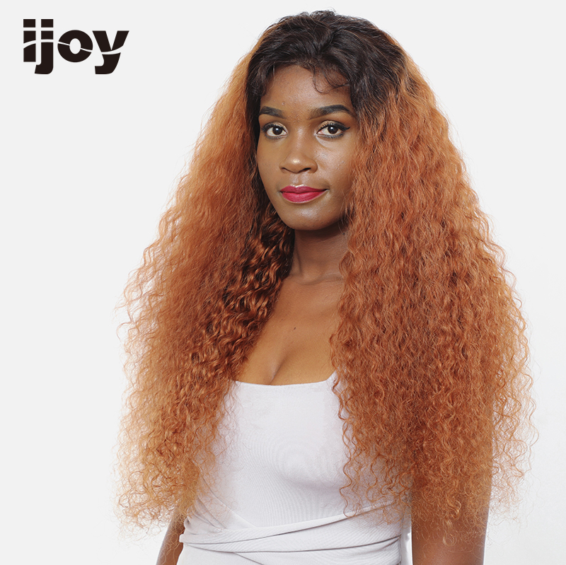 Afro Kinky Curly Wig Brown Wig Afro Ombre Wig Lace Front Colored Human Hair Wigs Two Tones 4x13 Brazilian 16-26″ Non-Remy IJOY