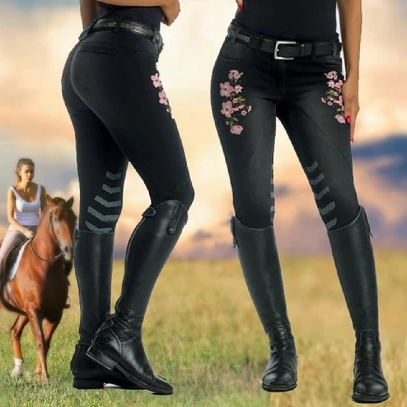 Flexible Women's Horse Riding Pants For Breeches Equestrian Equipment <font><b>Chaps</b></font> Pants <font><b>Sexy</b></font> Denim Jeans Ladies Girls Riding Breeches image