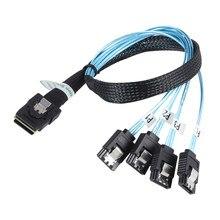 Mini sas interno SFF-8087 36 pinos para 4 sata 7 pinos para a frente breakout cabo 12 gbps 70cm 1 m disco rígido dados splitteer cabo de cabo
