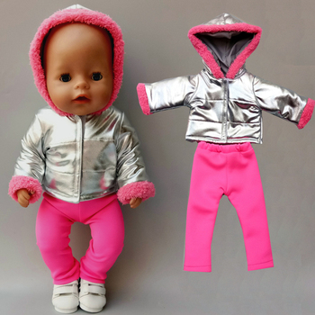 Детская кукольная одежда 43 см, зимняя Лыжная куртка, комплект со штанами, 18 дюймов, Кукольное пальто для девочек, Одежда для кукол