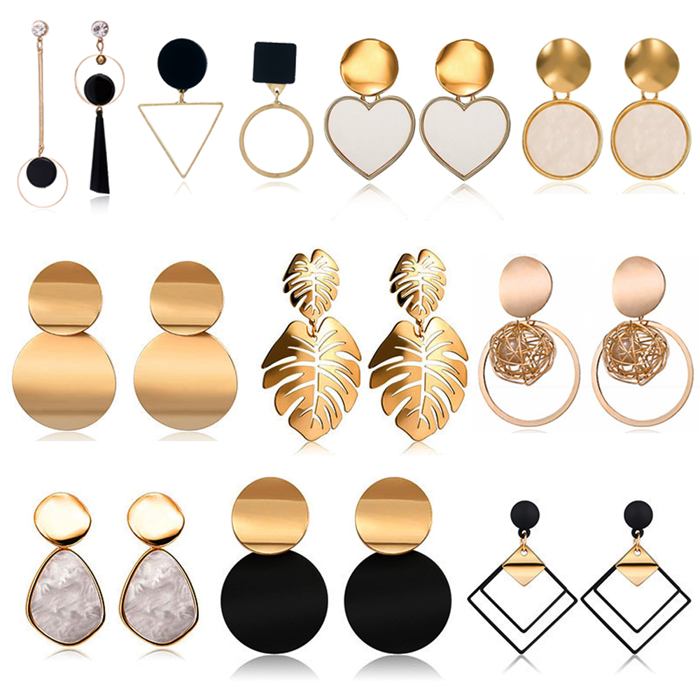 2019 New Fashion Stud Earrings For Women Golden Color Round Ball Geometric Earrings For Party Wedding Gift Wholesale Ear Jewelry