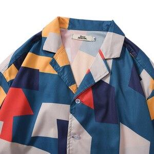 Image 3 - 2020 เสื้อHip Hop Streetwear Mensเสื้อฮาวายบล็อกสีเรขาคณิตHarajukuฤดูร้อนBeachเสื้อฮาวายแขนสั้นบางใหม่
