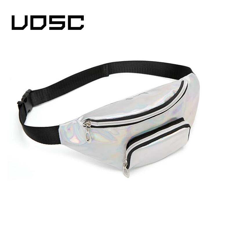 UOSC Sequins Holographic Fanny Pack Female Waist Pack Women's Laser Chest Waist Bag Girls Belt Bag Travel Bum Bag 2019 New