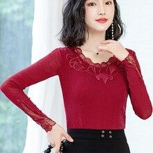 Fashion Autumn Women Blouses Shirts Korean Woman Silver Top Lace Shirt Plus Size Blusas Mujer De Moda Tops