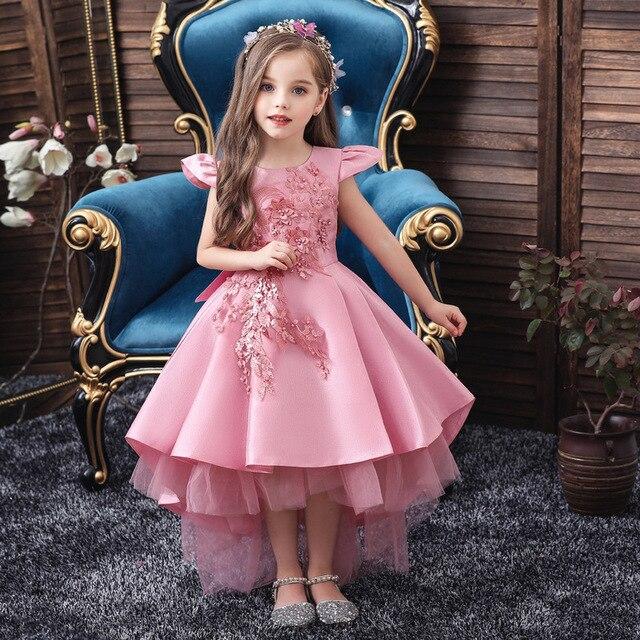 2019 New Summer Flower Girls Wedding Party Birthday Dress Princess Dress For Girls Tutu vestido Baby Kids Big Bow Elegant Dress 1