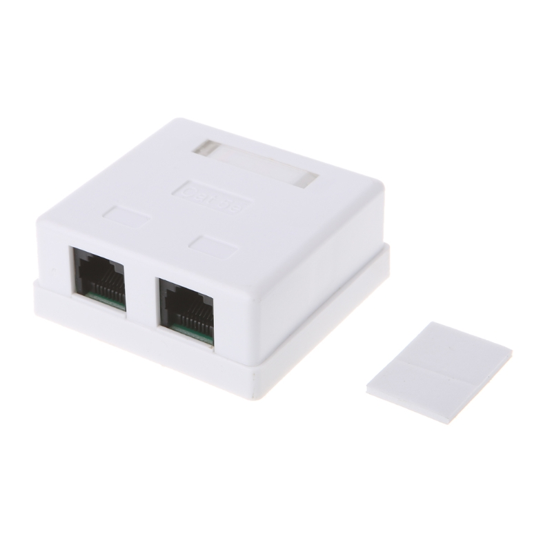 RJ45 Junction Box CAT5e Network Connector 2 Port Desktop Extension Cable Box