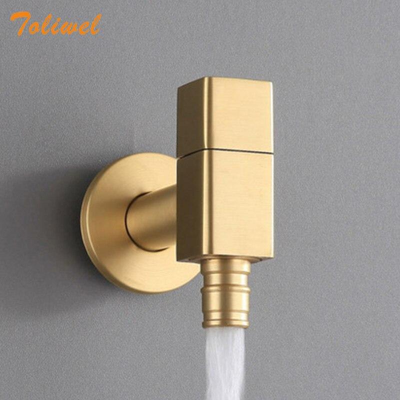 Латунный золотой кран для прачечной и ванной комнаты, настенный кран для холодной воды, кран для раковины, кран для раковины, водопроводный ...