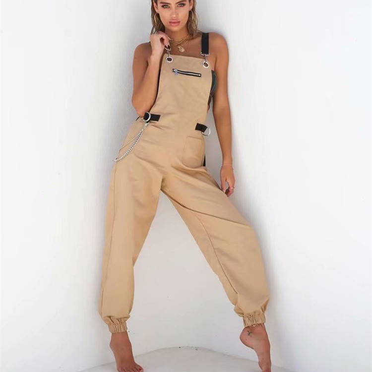 Women Nice Tide Sleeveless Strap Harem Jumpsuits Vintage Solid High Waist Casual Jumpsuits Summer Long Rompers