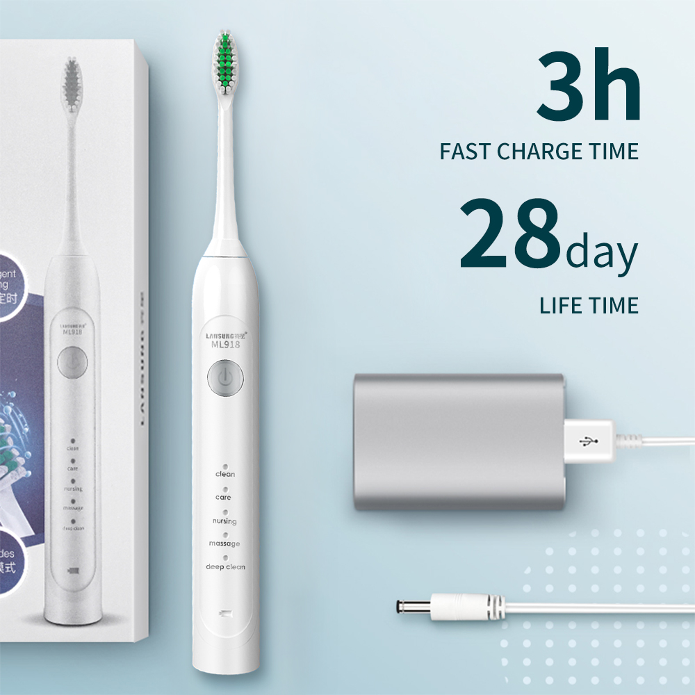 Image 3 - Lansung Sonic Electric Toothbrush USB Rechargeable Adult Ultrasonic Toothbrush Heads Replacements Whitening Smart Travel Case-in Electric Toothbrushes from Home Appliances