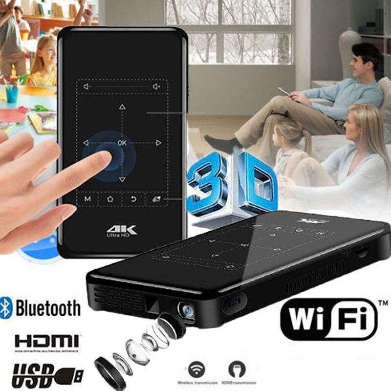 P09 4K Mini projecteurs avec Support de batterie 4000mAh Android Bluetooth Miracast Airplay projecteur portable portable