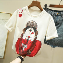 Summer Harajuku Poker queen Print Women T-Shirt Tops Runway Short Sleeve Female Harjauku Tee tshirt(China)
