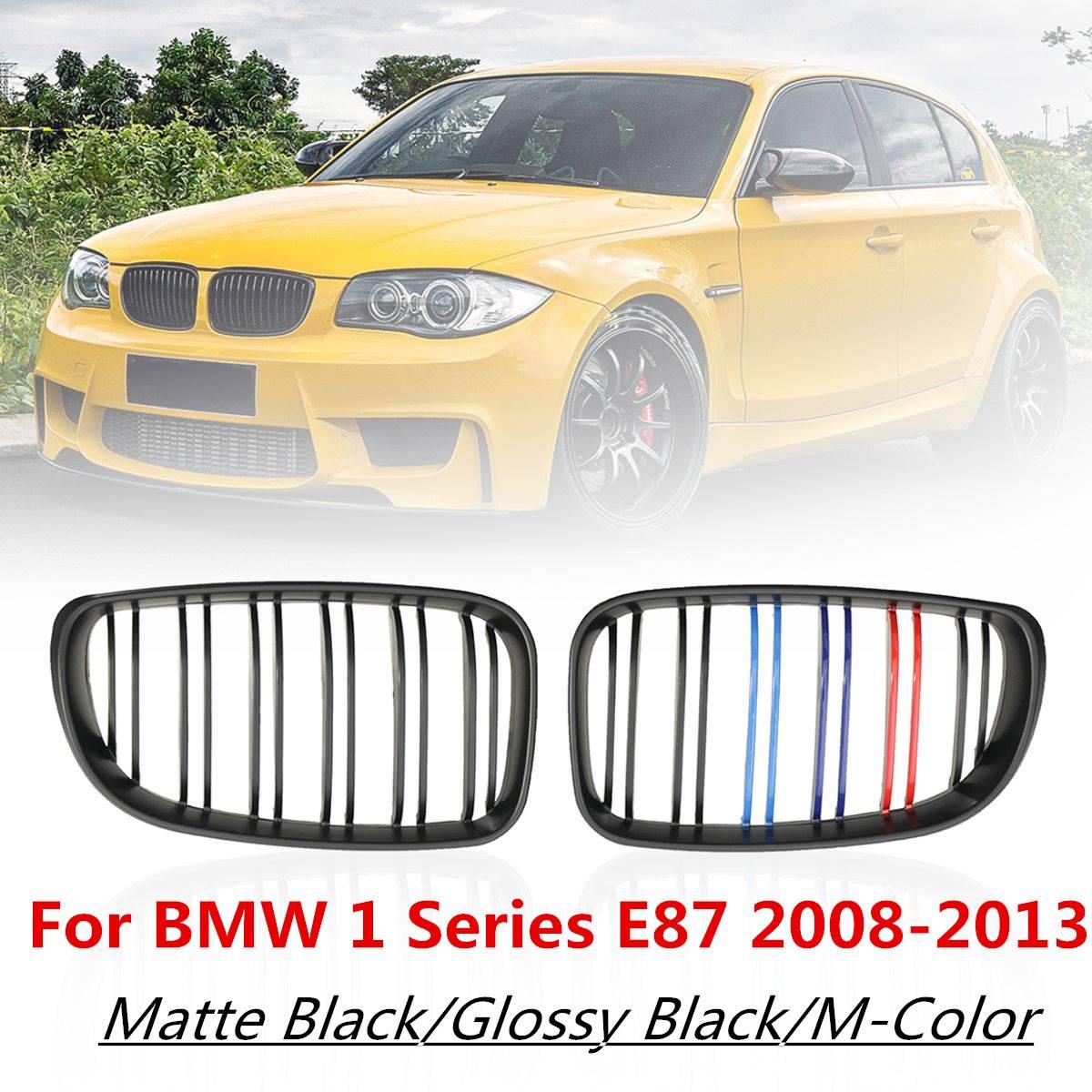 Paire ABS Double ligne 2 lattes m-color pare-chocs avant rein Grilles de course pour BMW série 1 E81 E82 E87 E88 facelifté LCI 2008-2013