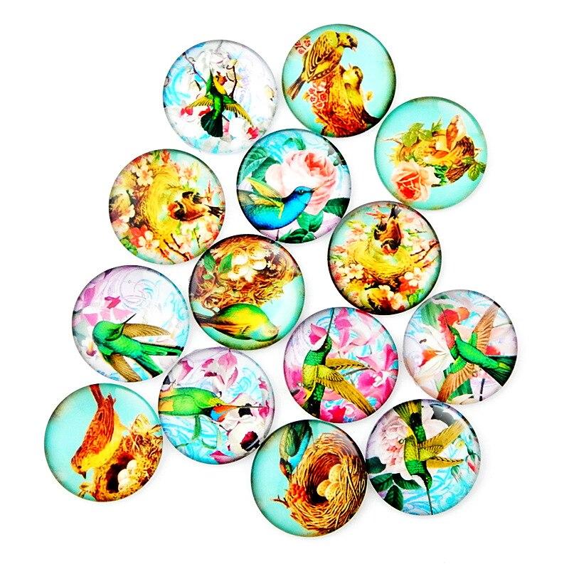 Купить 10 шт круглые стеклянные ожерелья кабошоны с птицами
