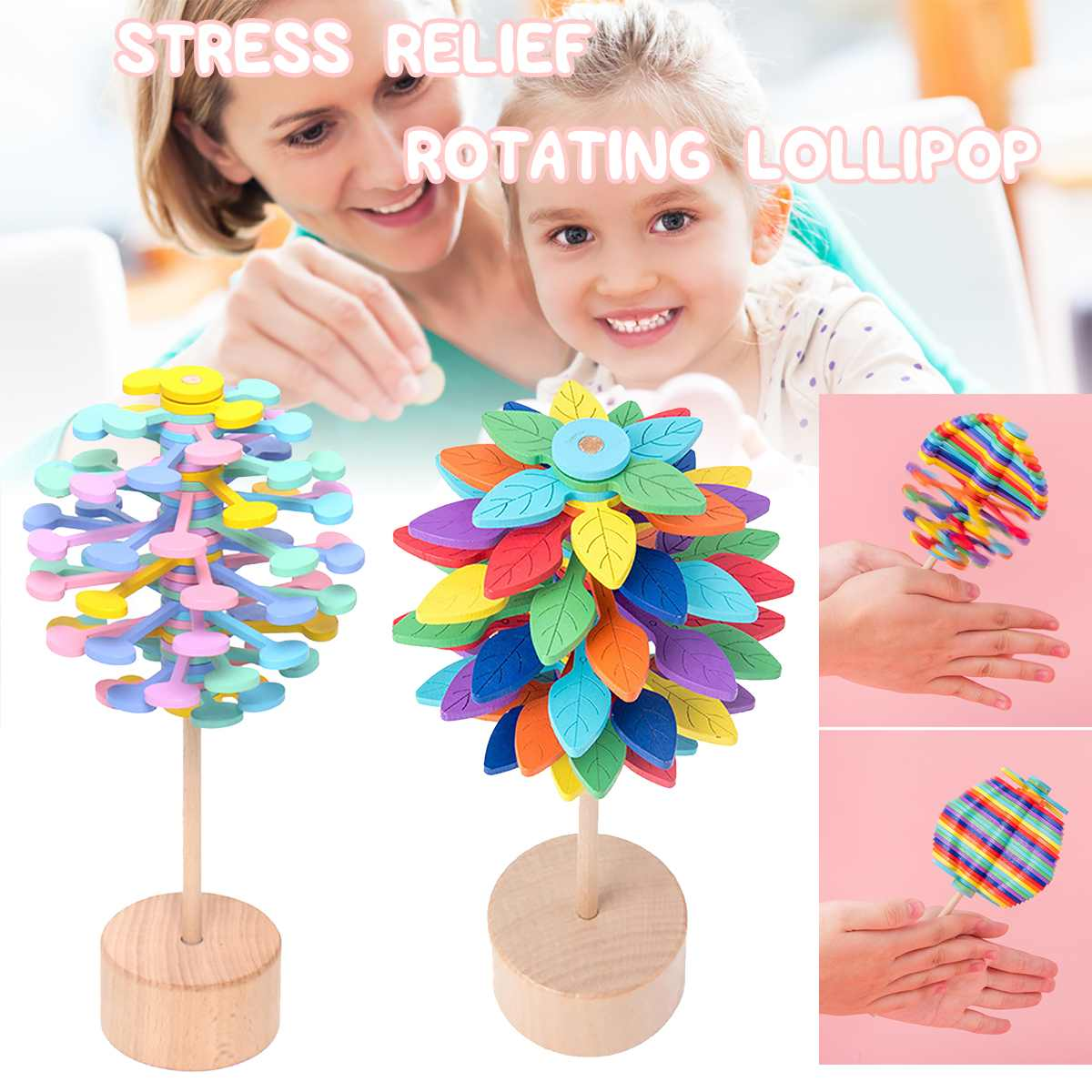 Wooden Magic Wand Stress Relief Toy Rotating Lollipop Art Decor For Home Office School Decompression Boy Girls