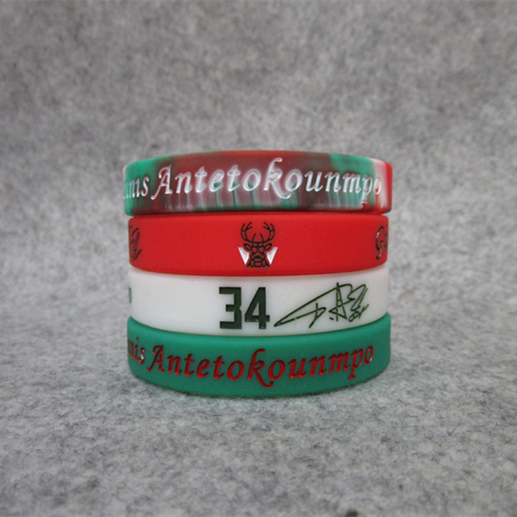 NBA Basketball Star Bucks Lettered Brother Sports Bracelet Silicone Wrist Band Kobe Curry James Durant