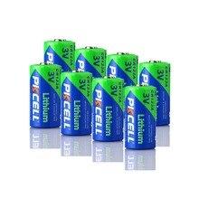 8Pcs PKCELL Lithium Primäre CR123A 3V cr 123 Trockenen Batterie CR17345 17345 1500mAh Batterien 123a Für Kamera medizinische ausrüstung Lampe