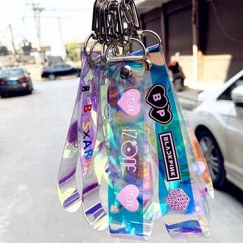 цена на KPOP Blackpink Exo Got7 IZONE Twice SEVENTEEN Keychain Women Embroidery Hanging Rope Phone Ring Bts Key Chain Gifts for Men