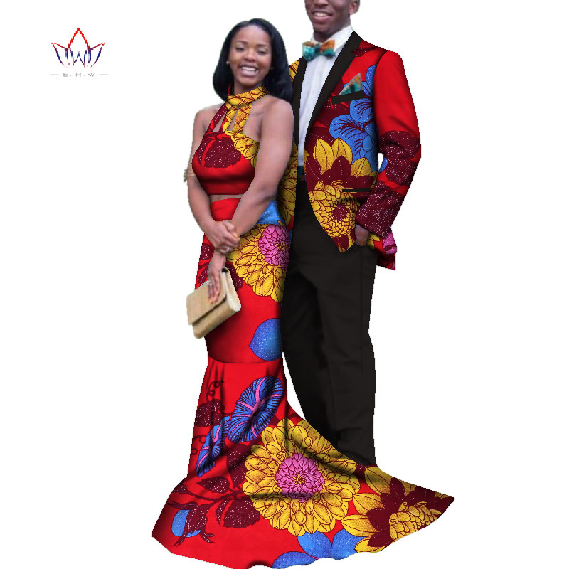 2020 New Men Sets And Women's Clothing For The Wedding Summer Traditional African Clothing Couples Matching Clothing 4xl WYQ155