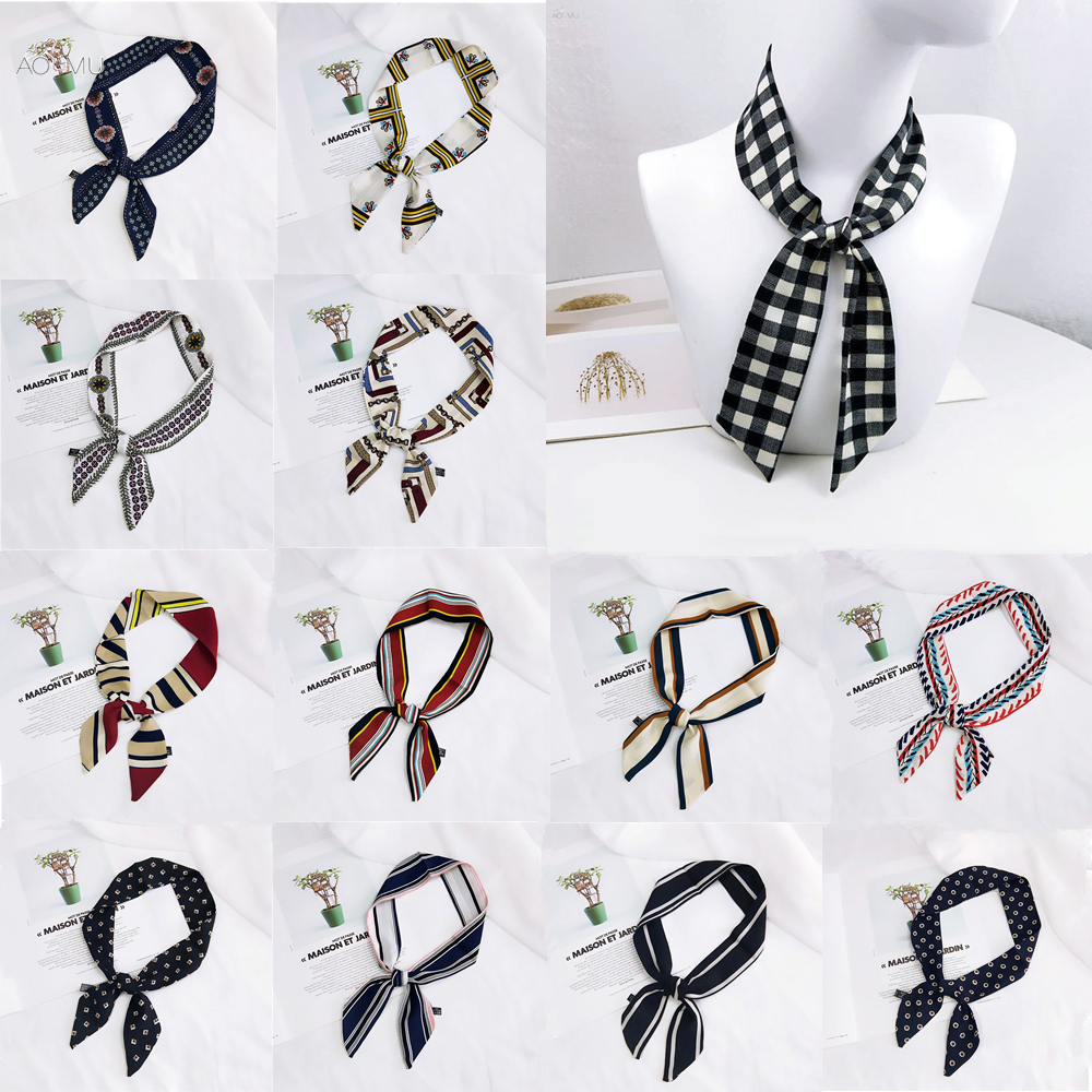 AOMU Fashion Black White Lattice Dot Scarf Head Neck Scarf Elegant Women's Hair Tie Band Wrap Handkerchief Bag Ribbon