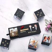 Креативный сюрприз черная подпрыгивающая Подарочная коробка DIY альбом подарок на день рождения свадьбу юбилей скрапбук DIY Фото Альбом для хранения подарочная коробка