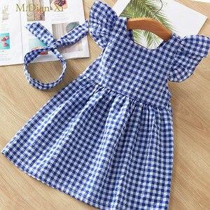 Girls Dress Flying Sleeve Plaid Dress+Headband Baby Girls Princess Kids Xmas Party Tutu Dress Cotton Newborn Costume