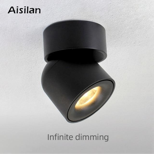 Aisilan Led צמודי תקרת Dimmable Downlight מתכוונן 90 מעלות ספוט אור עבור מבואה מקורה, סלון AC 90 260V