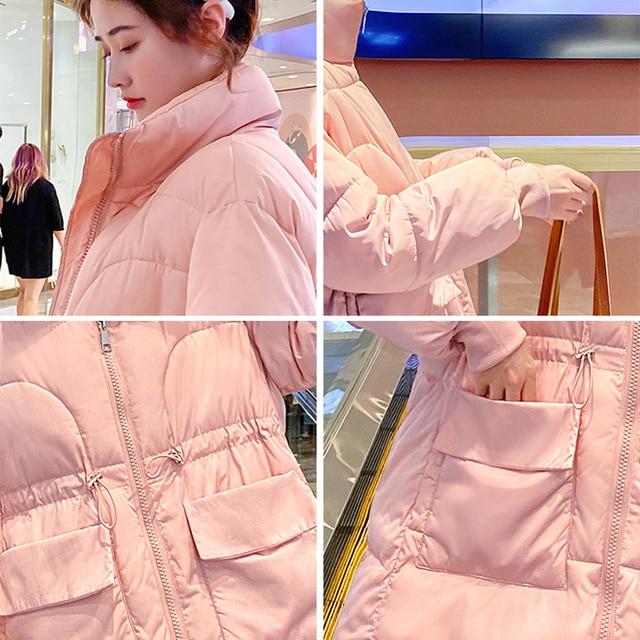 2021 New Winter women parkas fashion shiny fabric thicken windproof warm jackets coat outwear snow wear jacket S-XL 6