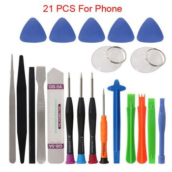 цена на 21 in 1 Mobile Phone Repair Tool Kit Pry Cell Phones Opening Screwdriver Set for iPhone X 8 7 Samsung crewdriver Hand Tools