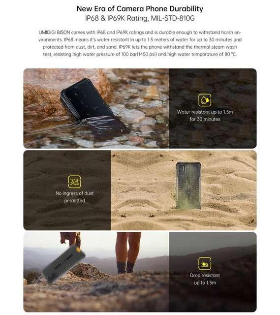 """Waterproof Rugged Phone, 48MP Matrix Quad Camera 6.3 """"FHD + Display 6GB + 128GB NFC"""