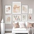 Abstrakte Geometrie Boho Stil Floral Poster Leinwand Malerei Wand Kunst Drucke Bilder für Wohnzimmer Innen Hause Dekoration
