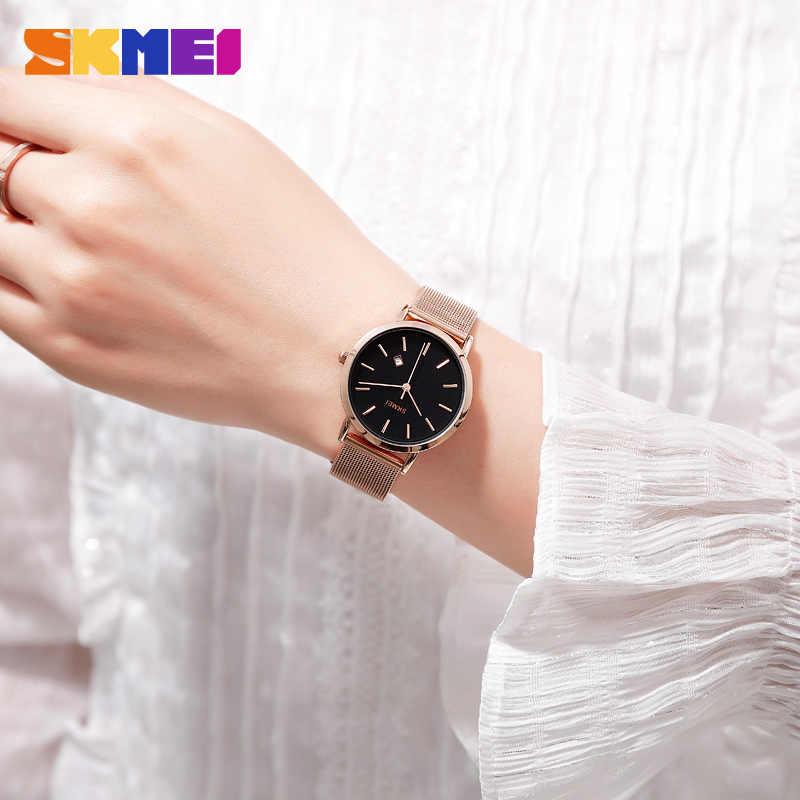 SKMEI kuvars bayanlar İzle moda Casual kadınlar saatler paslanmaz çelik su geçirmez horloges vrouwen Top marka lüks saat 1530