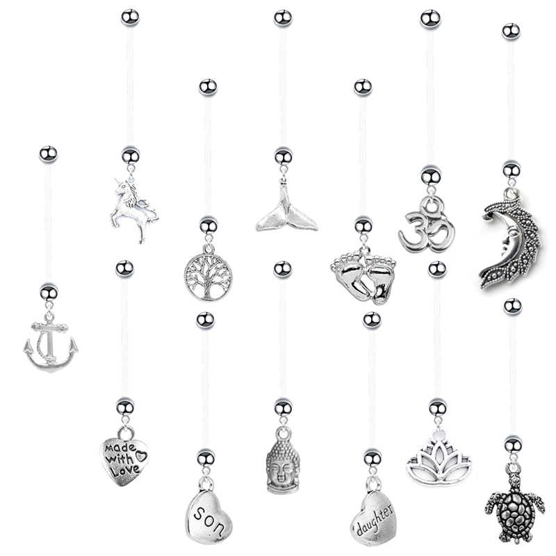 1PC Fashion Pregnancy Women Belly Rings Mom of Tree Heart Piercing Navel Boho Pregnant Belly Button Rings Body Piercing Jewelry