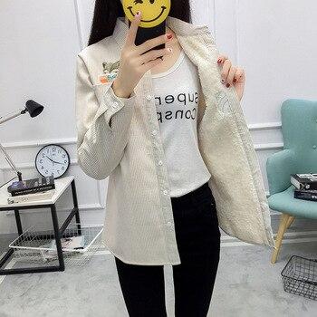 Inverno de veludo Grosso Quente blusa femenina listrado escritório Camisa femenina manga...
