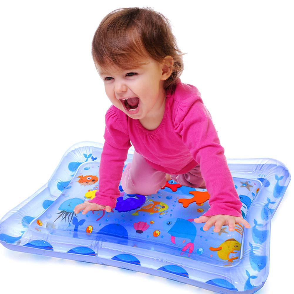 Cute Whale Animal Number Inflatable Tummy Time Water Mat Infants Baby Pad Toy Encourages Babys Natural Curiosity Develop Skills