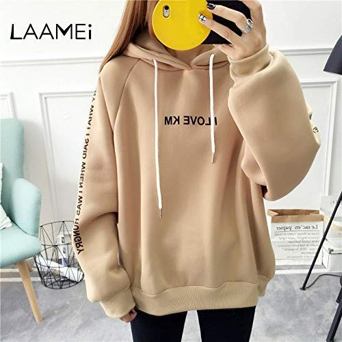 Casual Women Thick Long Sleeve Hooded Letter Print Hoodies Top Sweatshirt Simple Warm Fashion Autumn Female Loose Pullover Tops