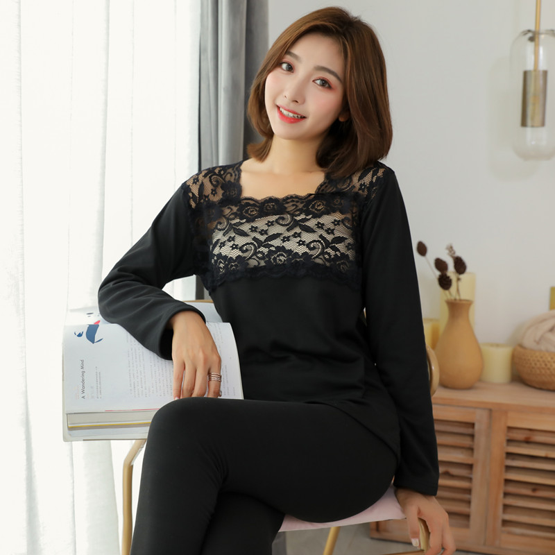 Women Thermal Underwear Sets Female Autumn & Winter Lace Thermal Underwear Set Lady's Body Slim Underwear Set Thermal Underwear