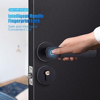 цена на Fingerprint Handle Key Door Lock for Room Office Smart Lever Door Knob Zinc Alloy Fingerprint Handle Lock