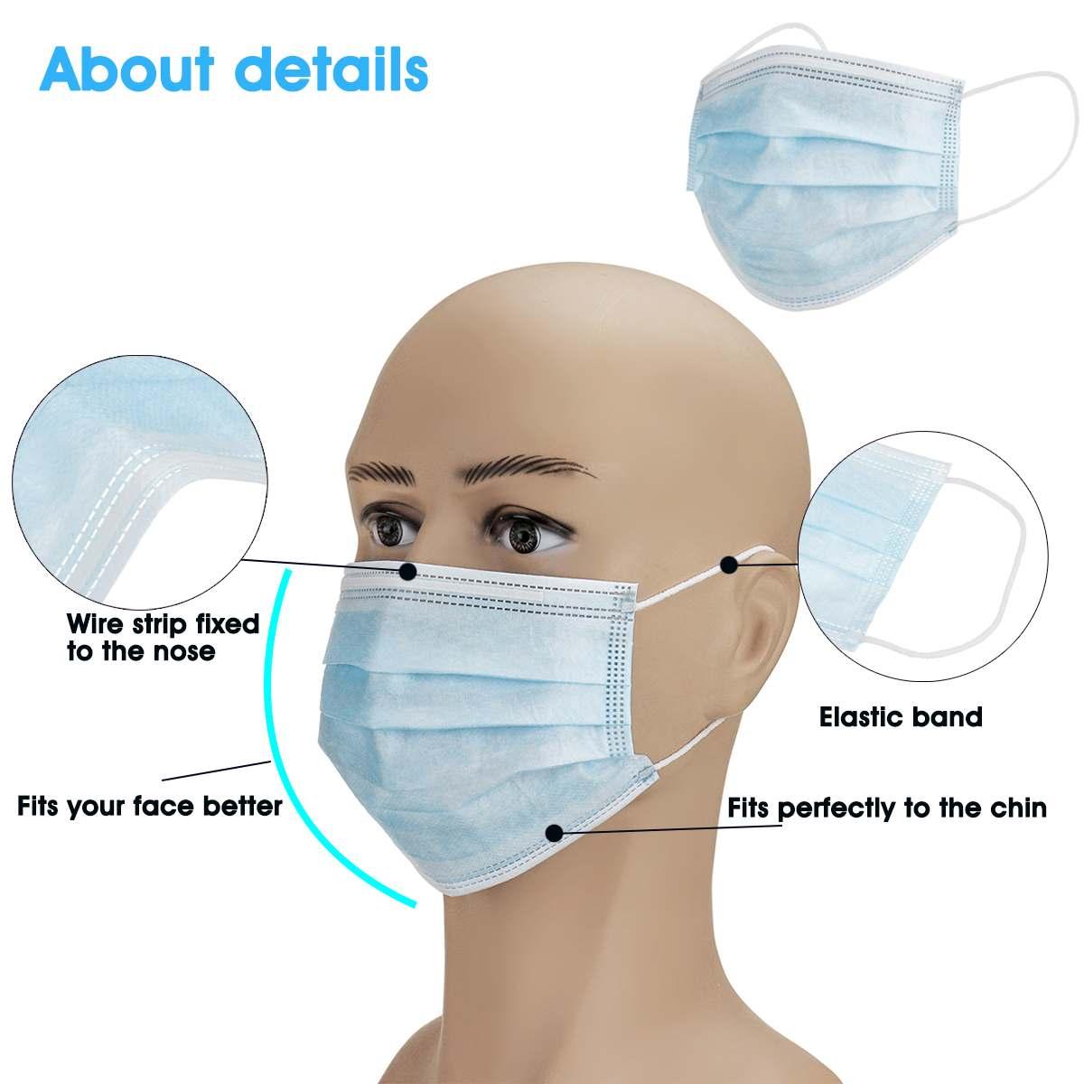 50/100/150pcs Disposable Antibacterial Mask 3-layers Anti Virus Bacteria Proof Mask Face Antibacterial Anti-Pollution Masks 1