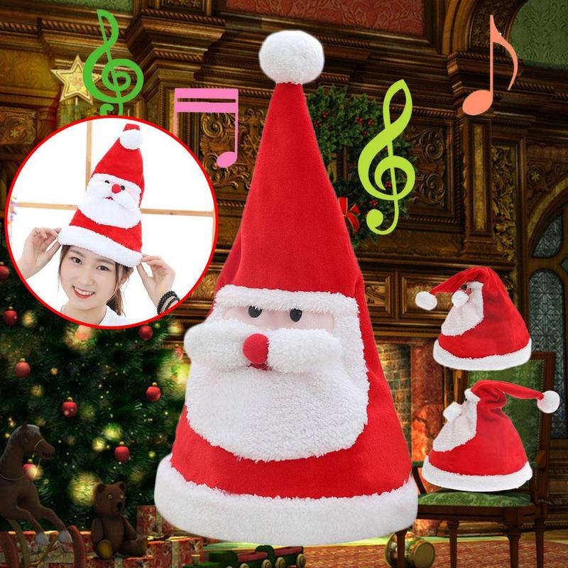 Christmas Hat Plush Toys Party Electric Music Light Swing Santa Claus Washable Adjustable Children Christmas Gift Plush Toy