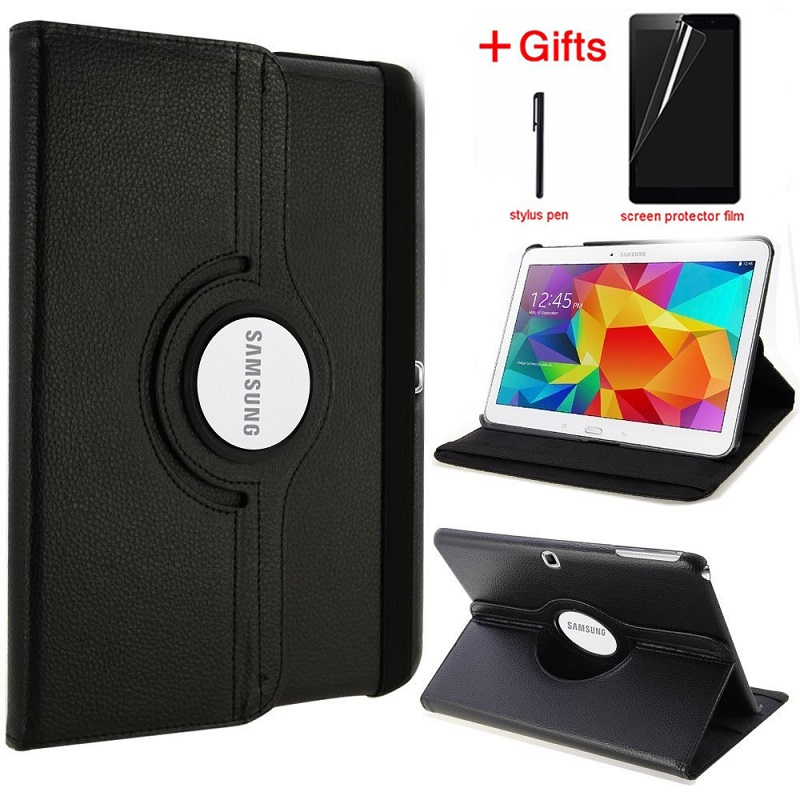 Case For Samsung Galaxy Tab 4 10.1 Tablet SM-T530/T531/T535 10.1'' Case Pu Leather 360 Rotating Stand Cover With Pen+Film