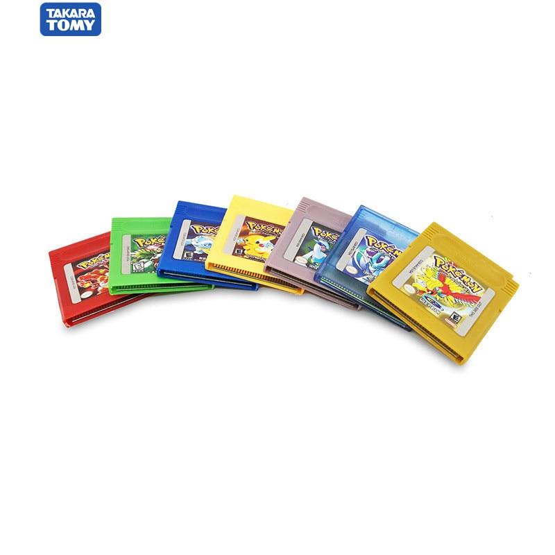Takara cartucho de vídeo game pokemon, tomy pokemon series 16 bit, jogo clássico, colecionar, versão colorida, idioma inglês