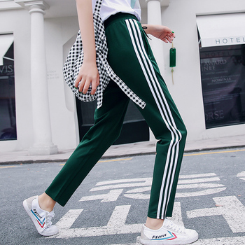 Woman Thin Section Drawstring Elastic Waist Jogger Pants Side Striped Athleisure Ankle-Length Sweatpants Sports Fashion Casual