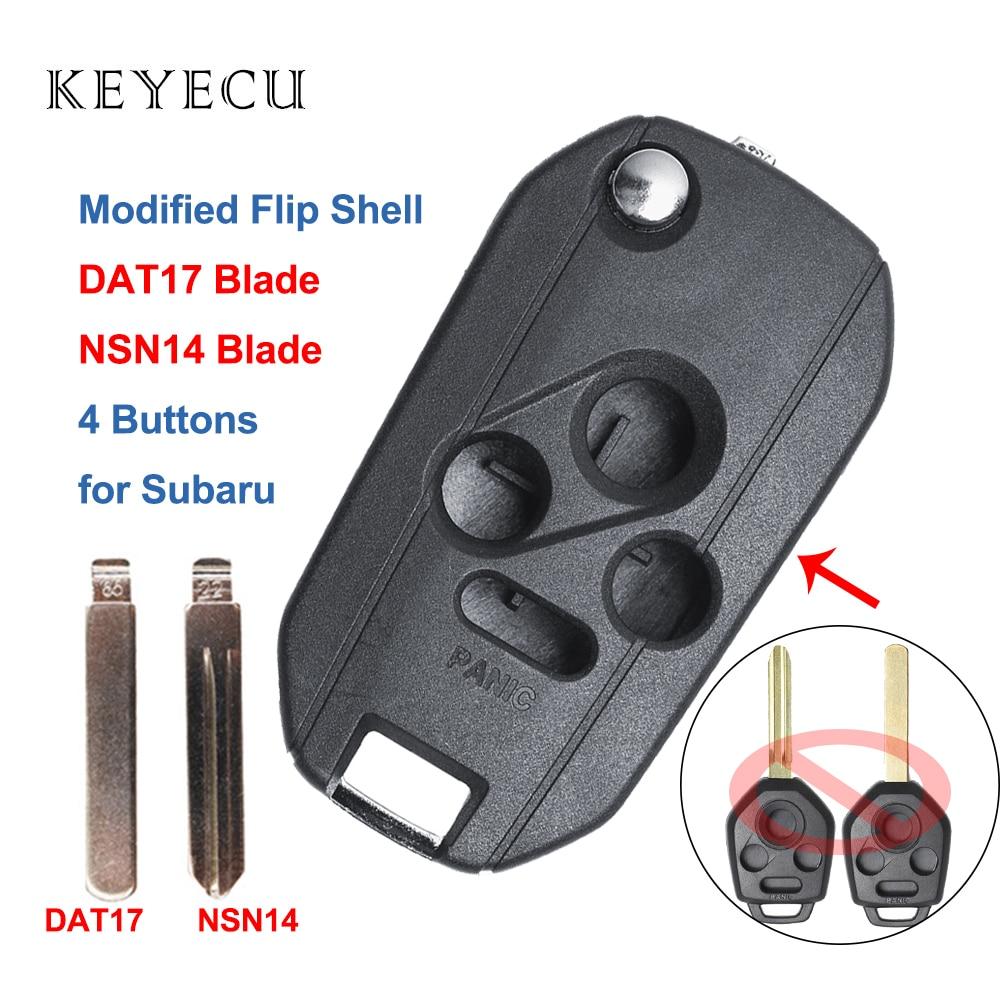 Keyecu Modified Folding Remote Key Shell Case Fob 3+1 Button for Subaru Legacy Outback